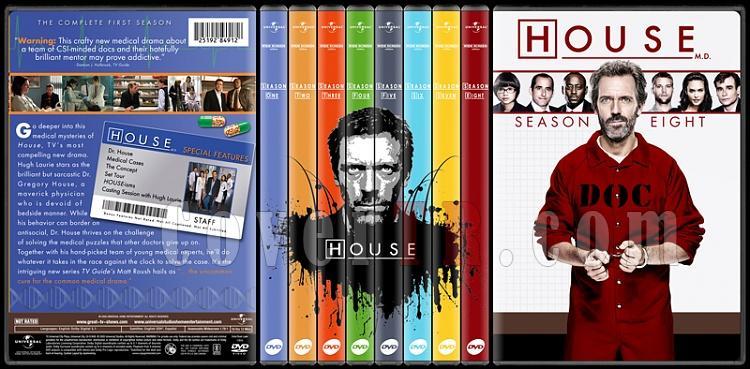 House M.D. Collection (Seasons 1-8) - Custom Dvd Cover Set - English [2004-2012]-standard-8-season-flatjpg