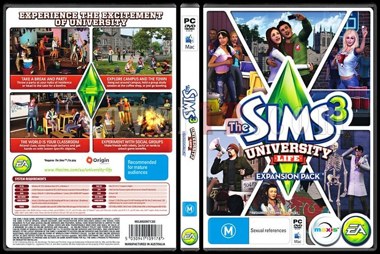 The Sims 3 University Life - Scan PC Cover - English [2013]-sims-3-university-lifejpg