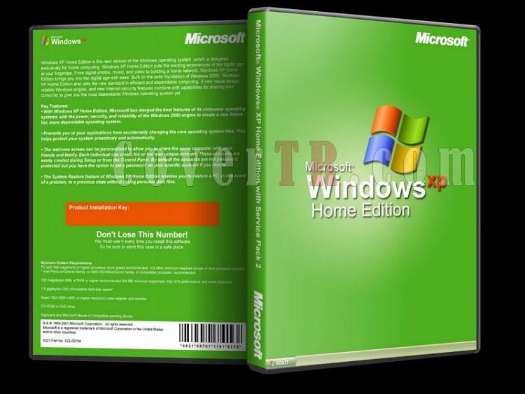 Microsoft Windows XP Home Edition - Custom Dvd Cover - English [2001
